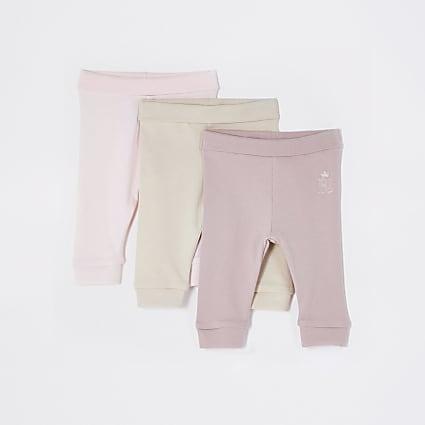 Baby pink leggings 3 pack