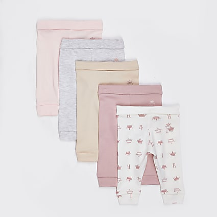 Baby pink leggings 5 pack