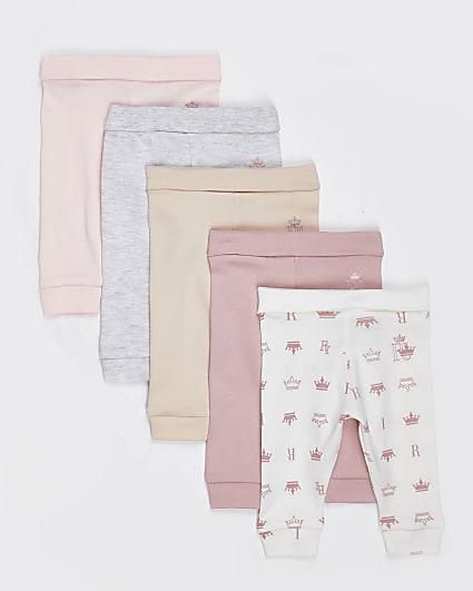 Baby pink leggings 5 pack