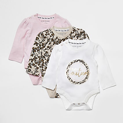 Baby pink leopard print babygrow 3 Pack