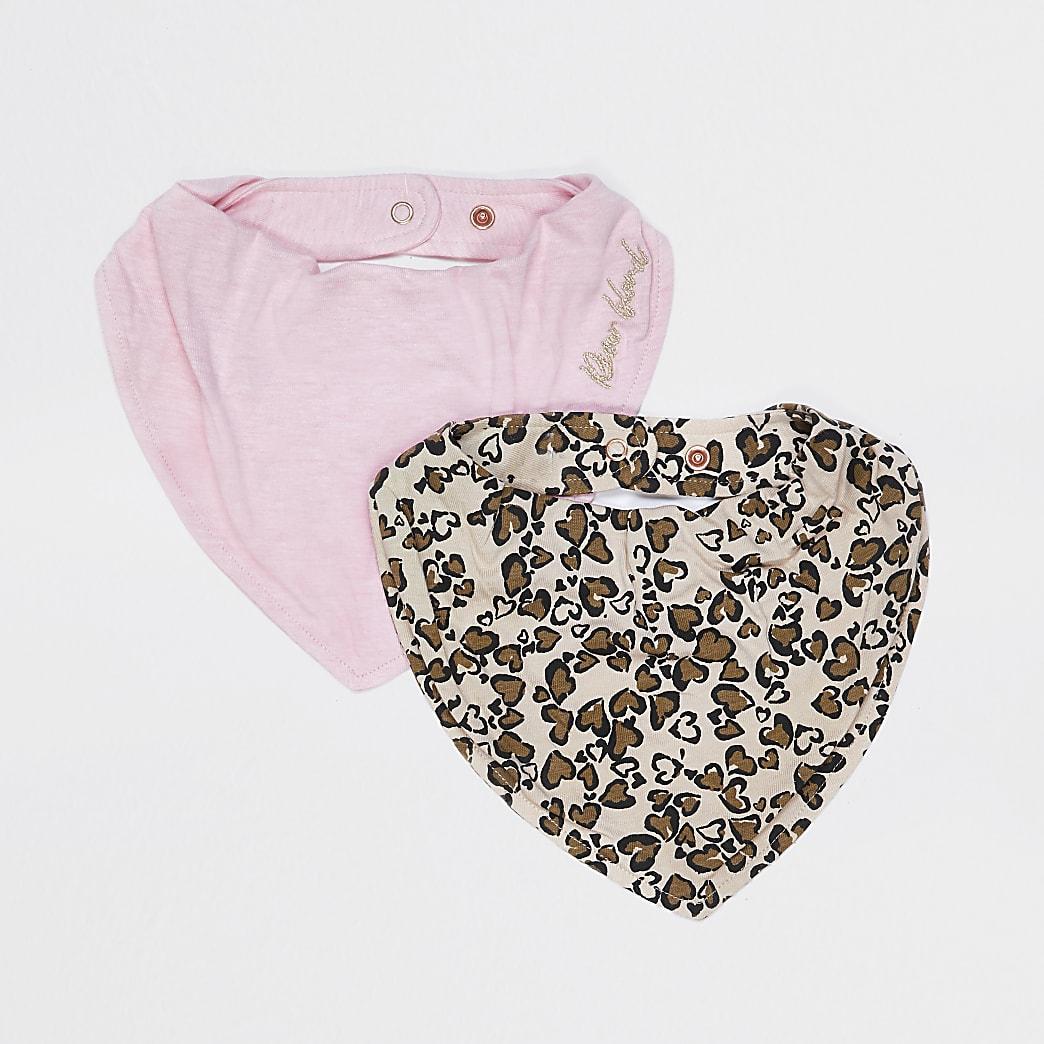 Baby pink leopard print bibs 2 pack