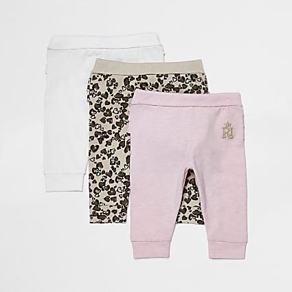 Baby pink leopard print leggings 3 pack