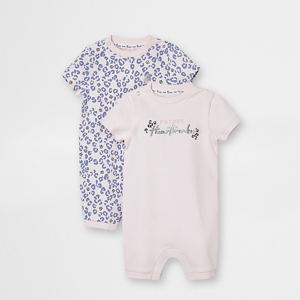 Baby pink leopard print romper 2 pack