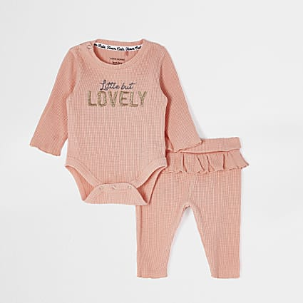 Baby pink 'Little but lovely' waffle outfit