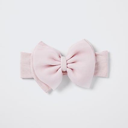 Baby pink organza bow headband