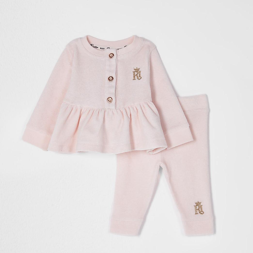 Baby pink peplum hem 2 piece set