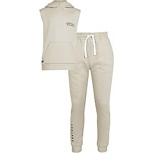 Outfit in Rosa mit Body und Leggings aus Piqué