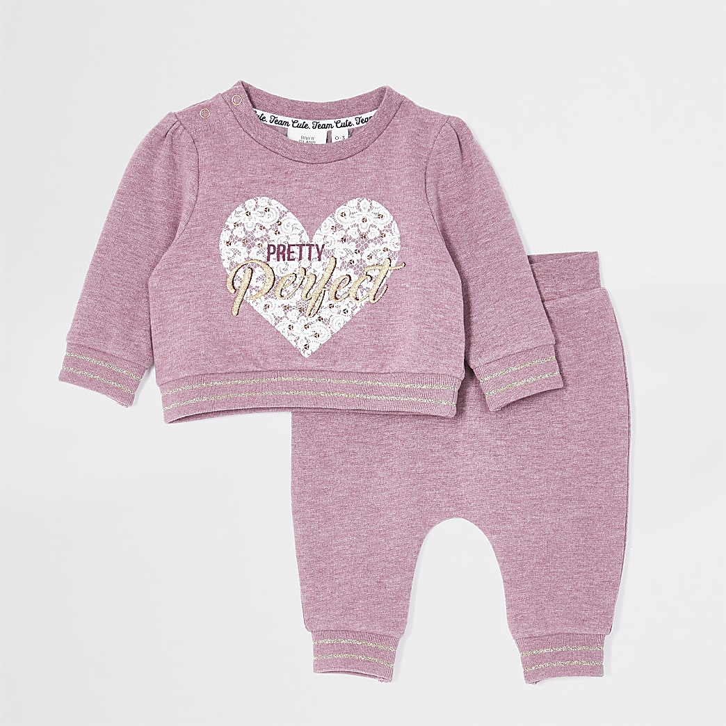 Baby pink 'Pretty perfect' sweat outfit