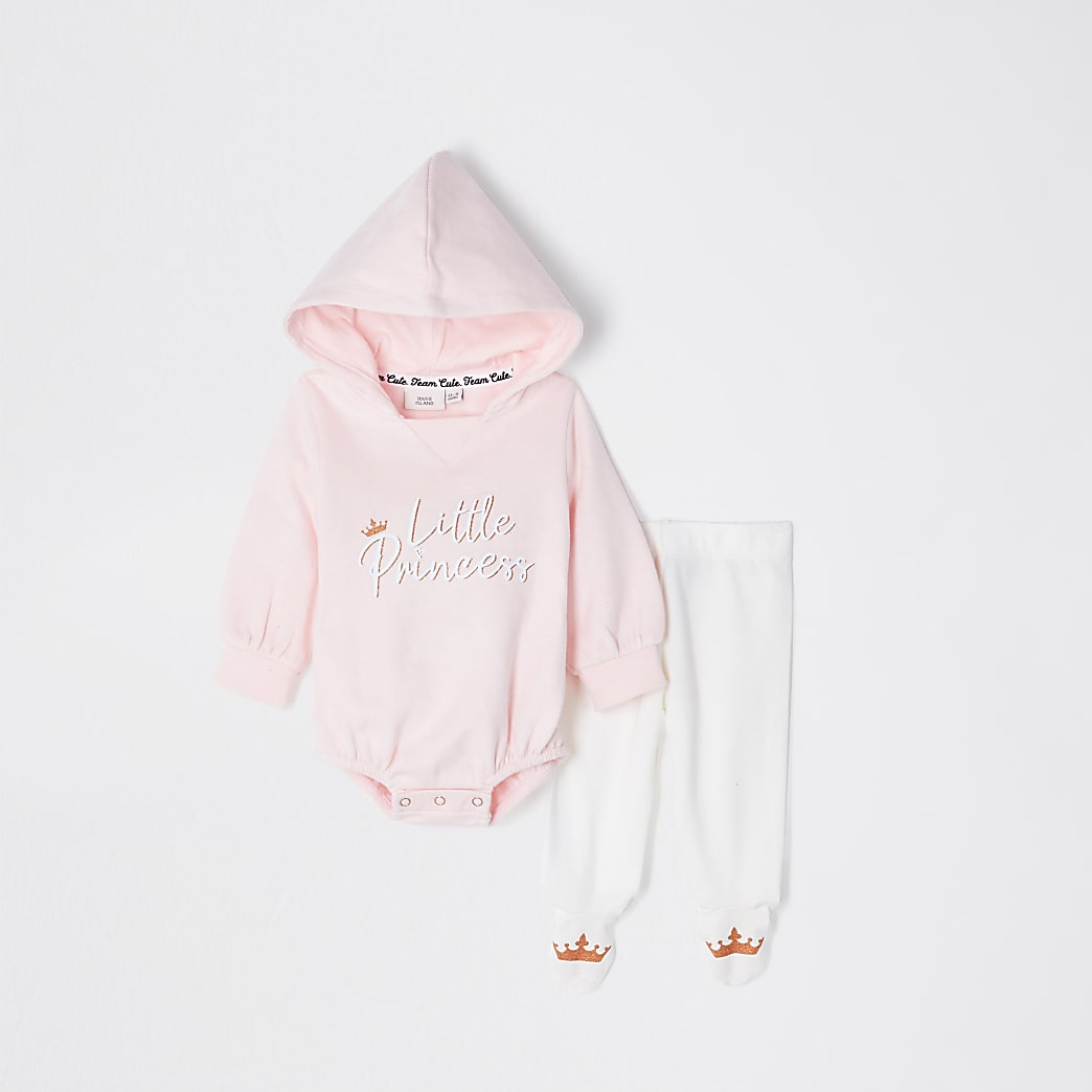Baby pink princess hooded bodysuit outfit