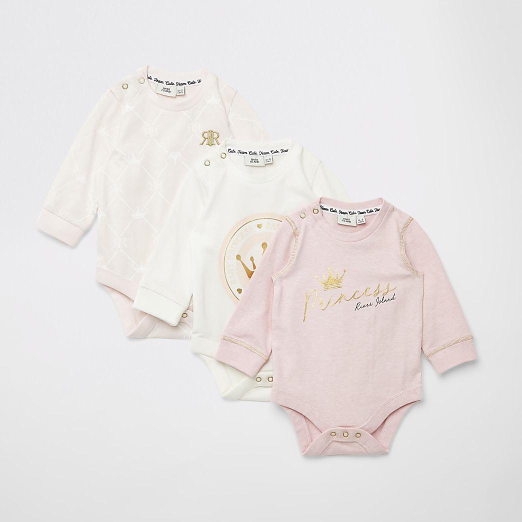 Set van 3 roze bodysuits met print voor baby's
