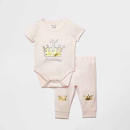 Baby pink printed bodysuit and legging set