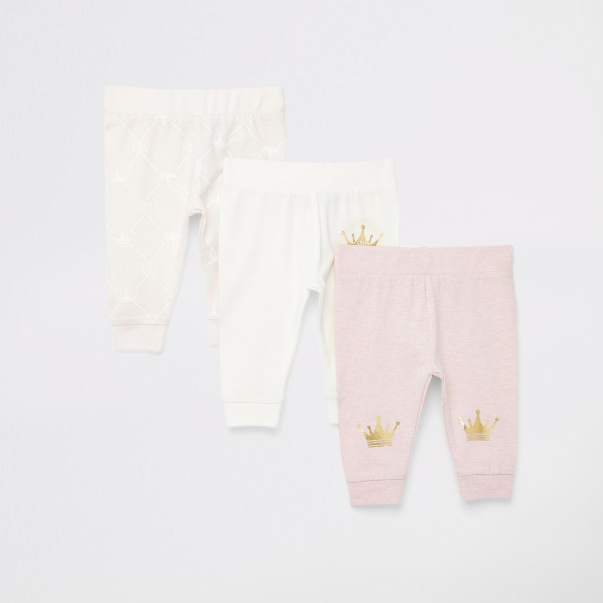 Roze leggings met print voor baby's set van 3