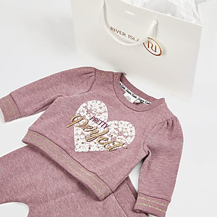 Baby pink printed outfit and gift bag