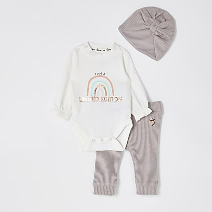 Baby pink rainbow baby grow legging set