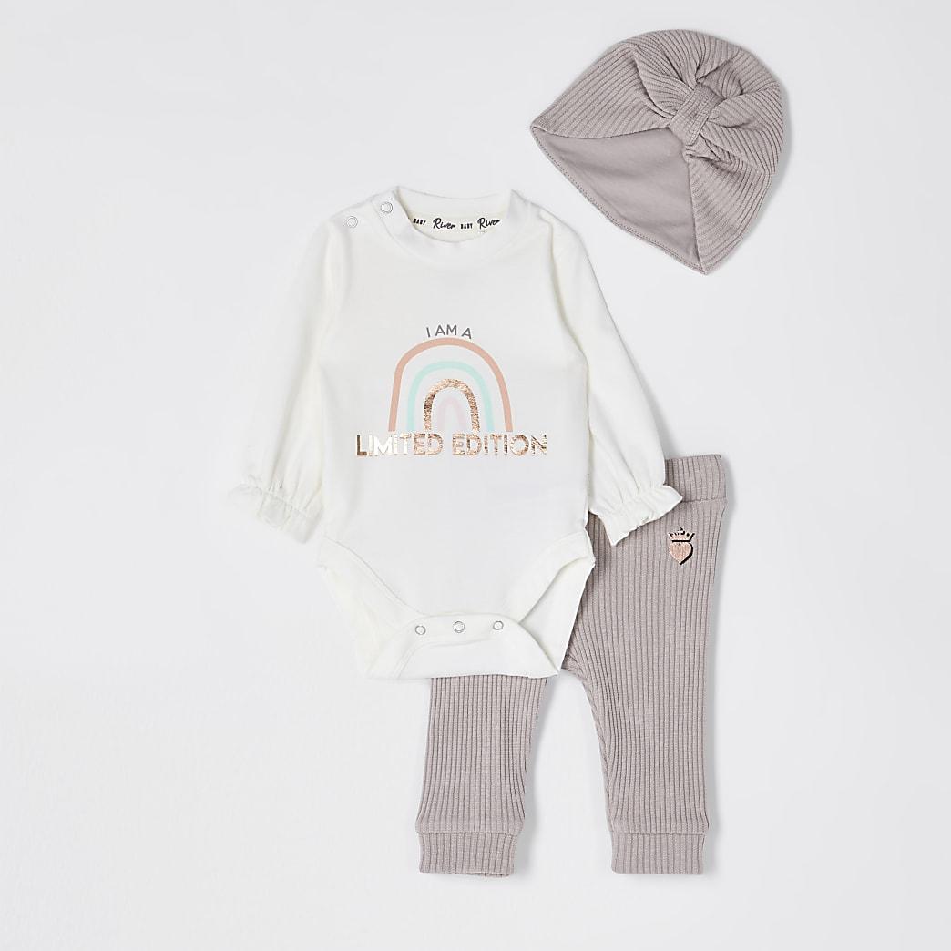 Baby pink rainbow baby grow legging set