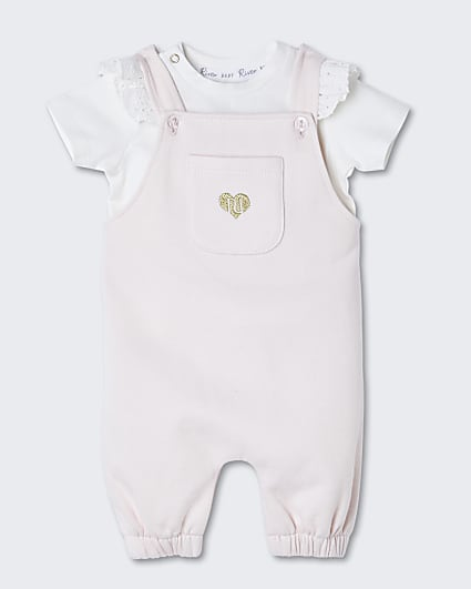 Baby pink RI dungaree outfit