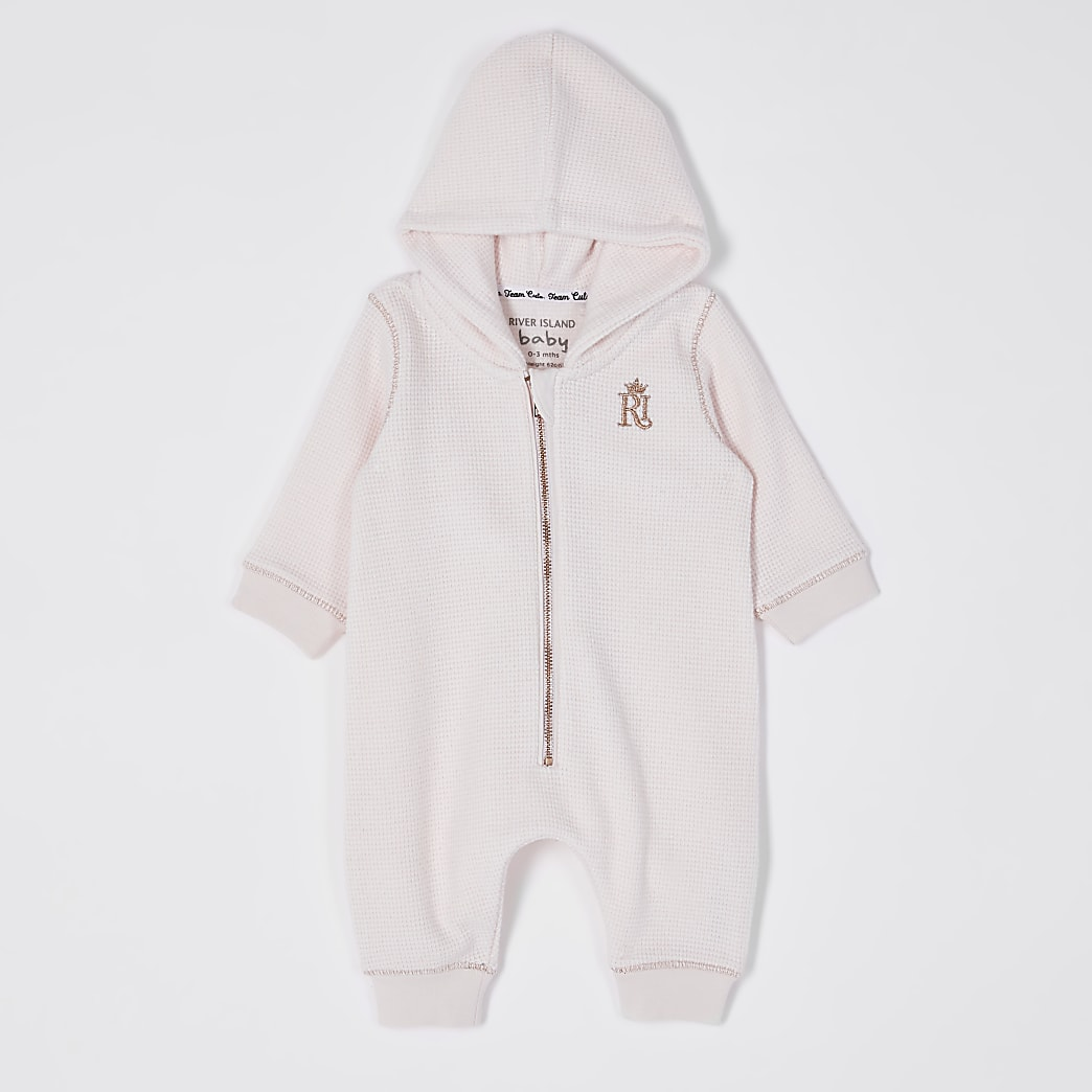 Baby pink RI hooded all in one