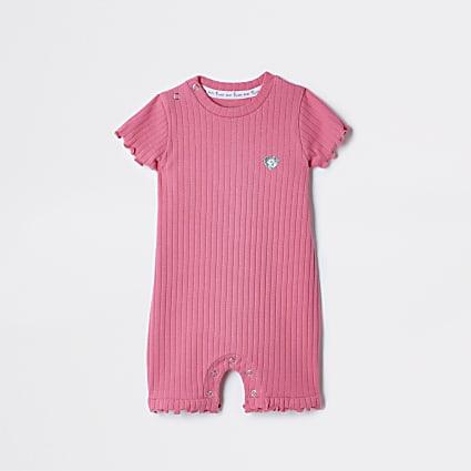 Baby pink RI ribbed babygrow