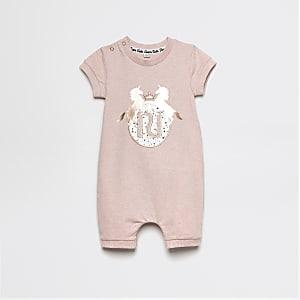 RI - Baby-Einteiler mit Einhorn-Print in Pink