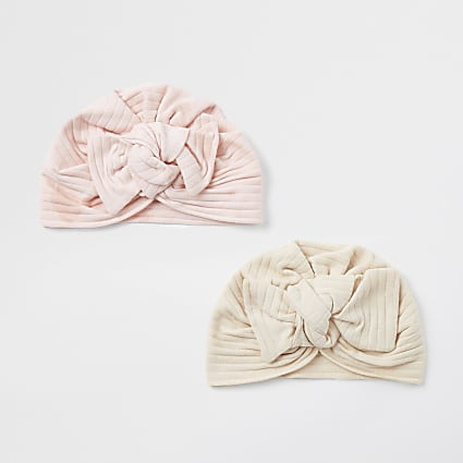 Baby pink rib bow turban 2 pack