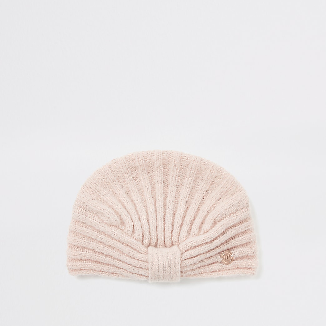 Baby pink rib knitted turban hat