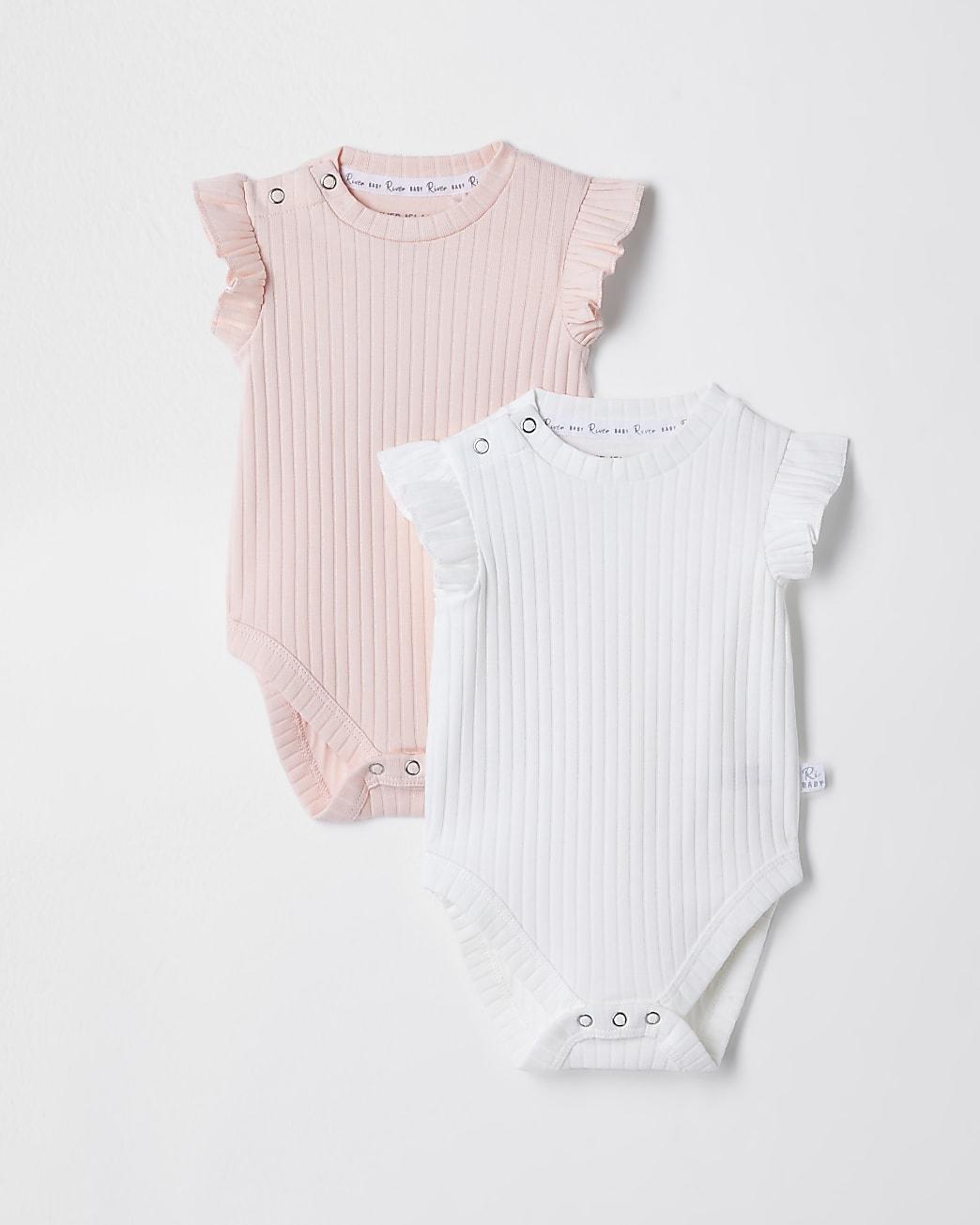 Baby pink ribbed babygrow 2 pack