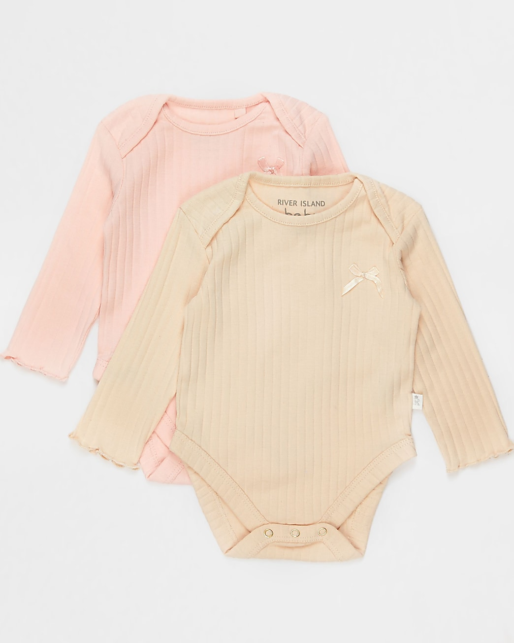 Baby pink ribbed bow bodysuits 2 pack