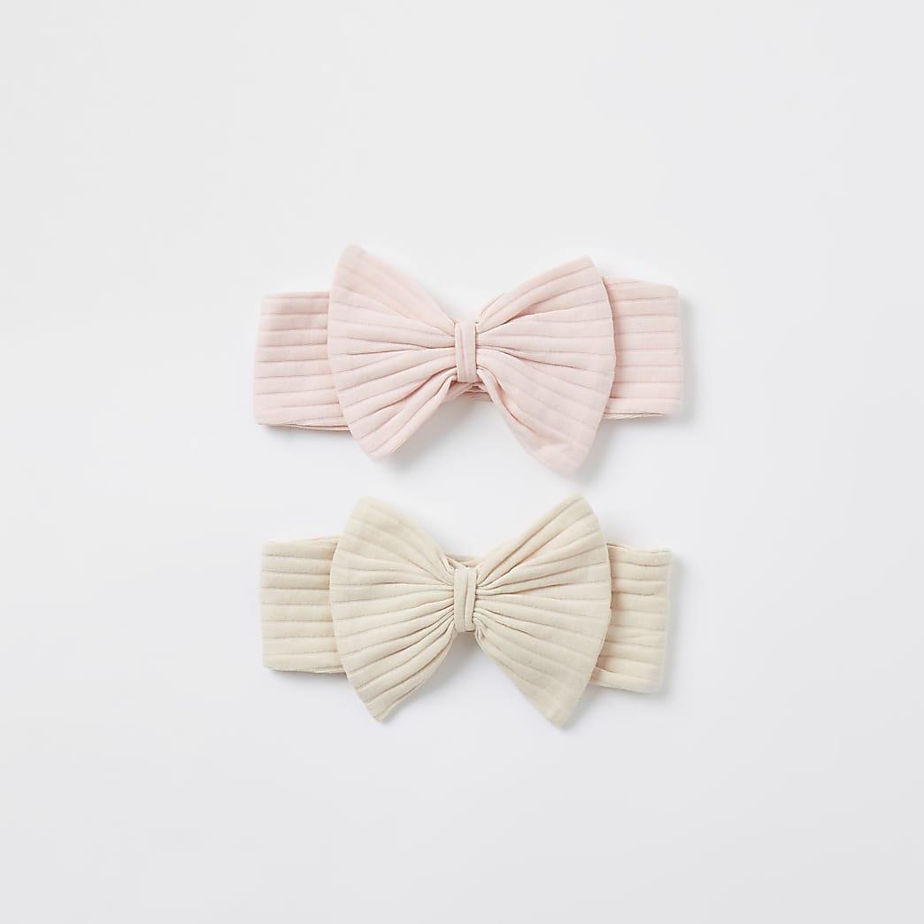 Baby pink ribbed bow headband