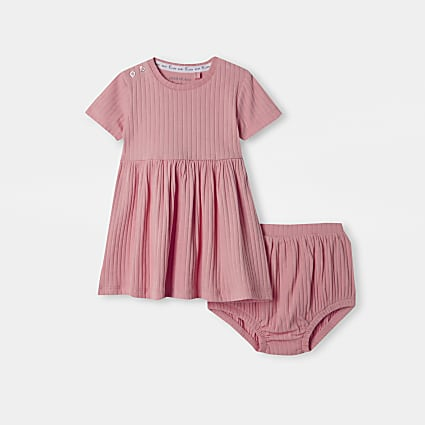 Baby pink ribbed dress & bloomer outfit