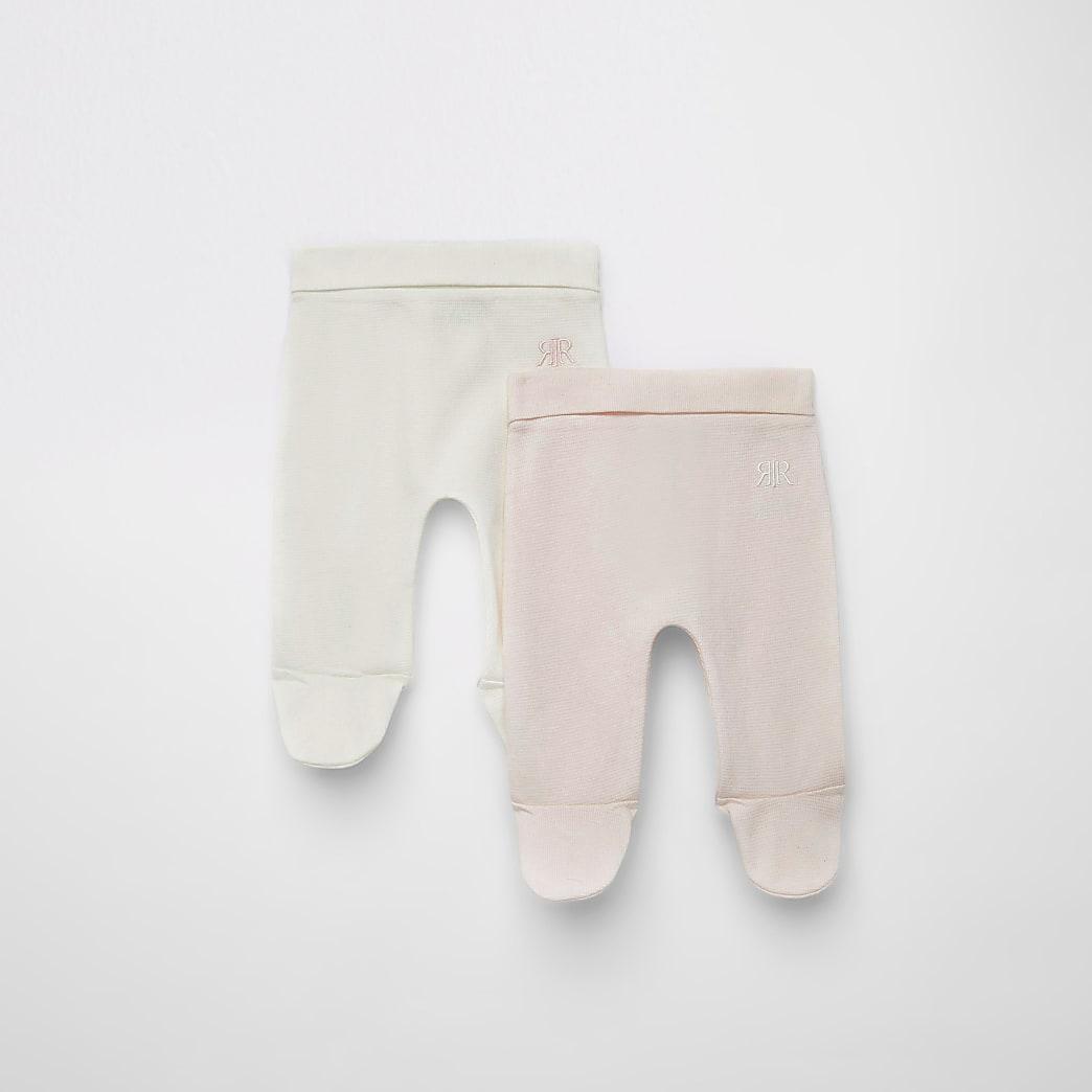 Roze RIR leggingsmet wafeldessin voor baby's set van2