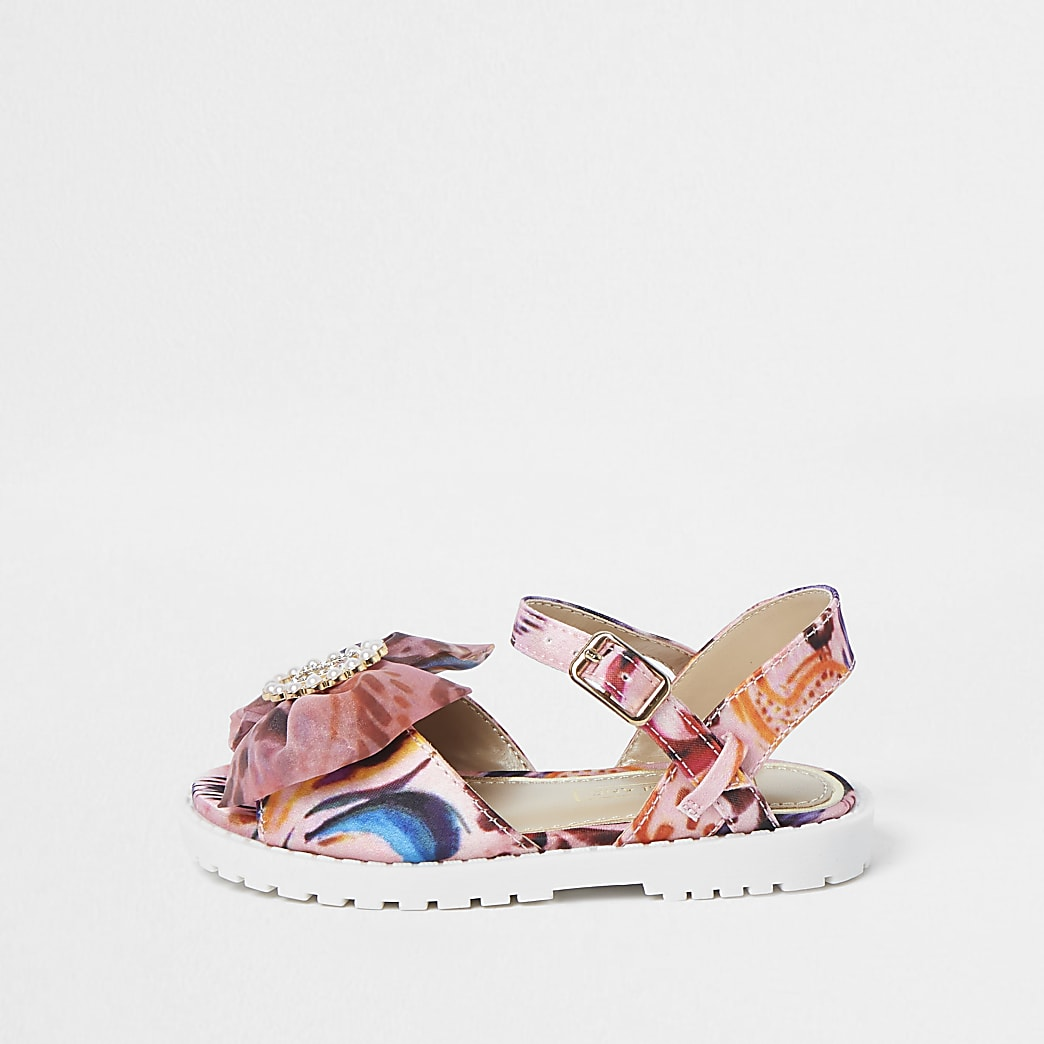 Baby pink satin bow clumpy sandals