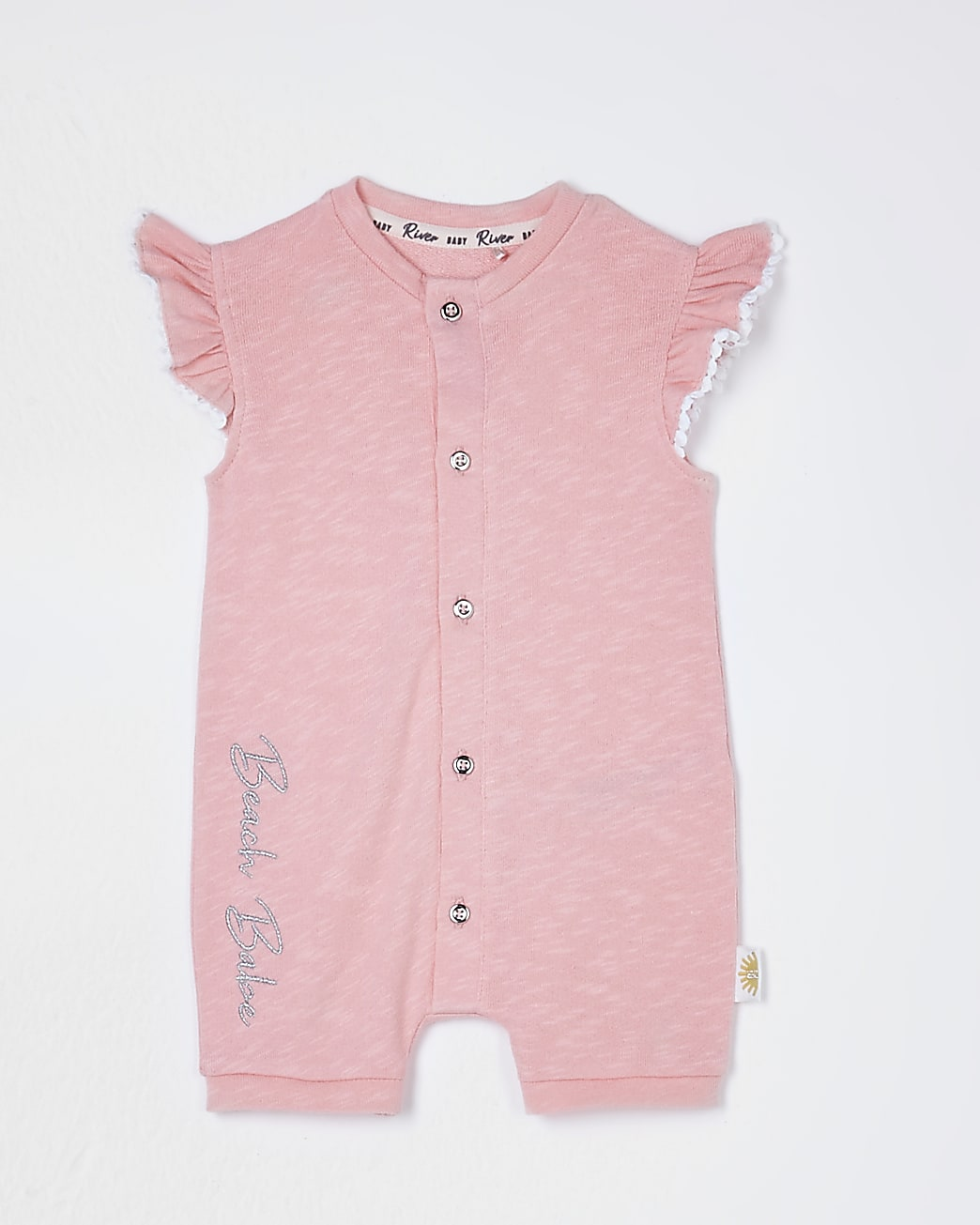 Baby pink shell bum romper