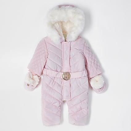 Baby pink snowsuit