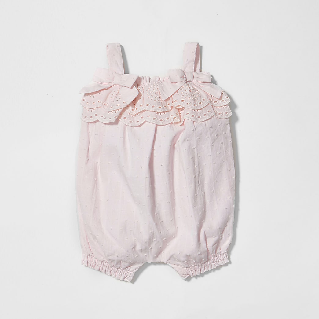 Baby pink spot frill romper
