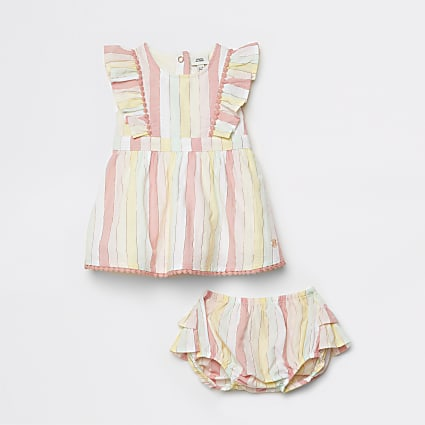 Baby pink stripe dress and knicker set