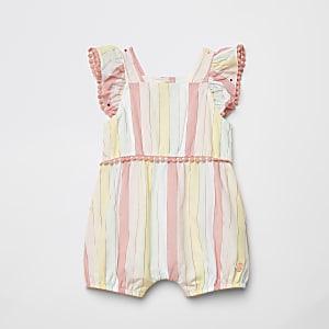 Roze gestreept mouwloos rompertje met franje voor baby's