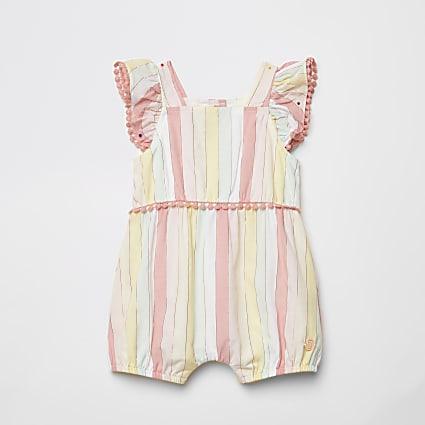 Baby pink stripe frill sleeveless romper