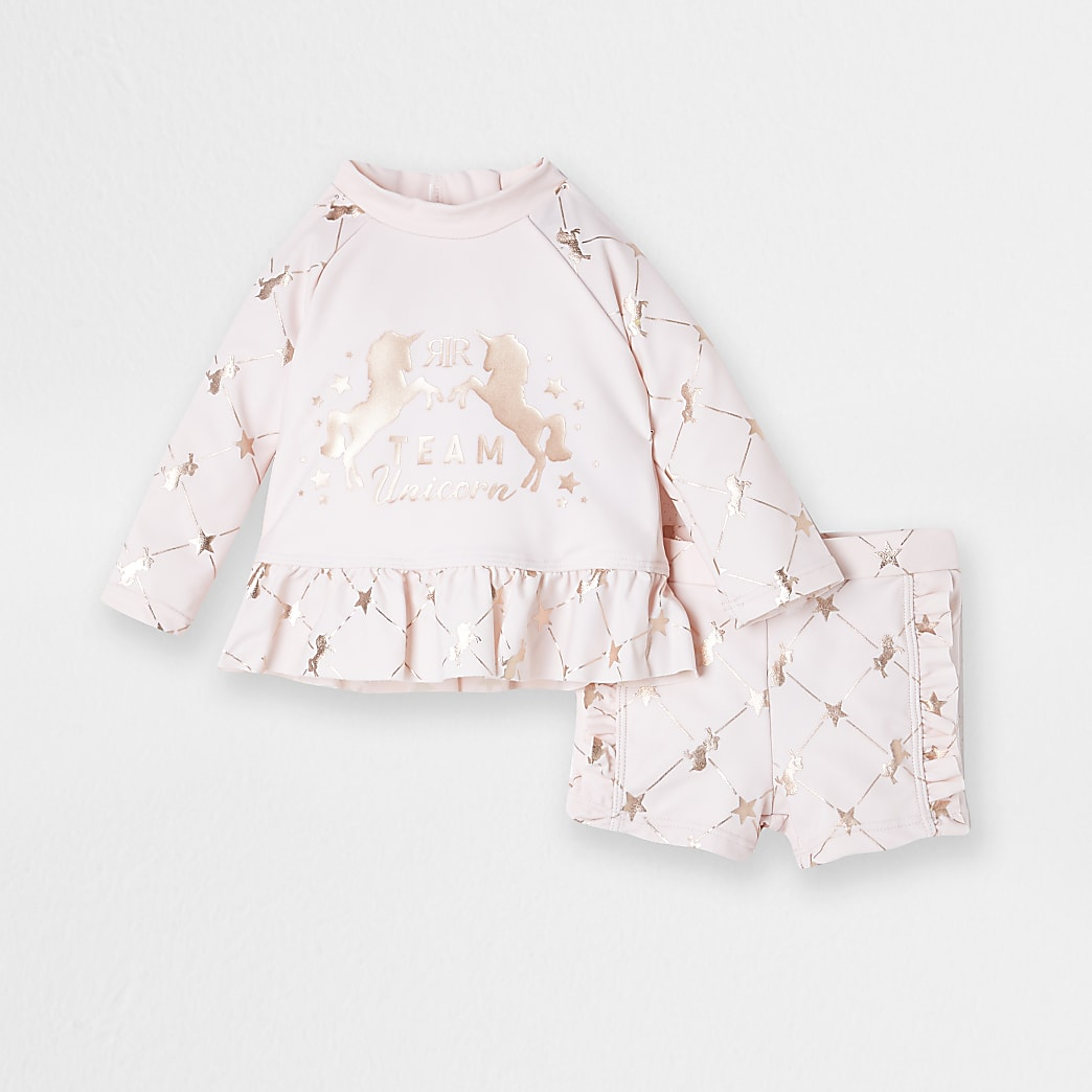 Baby pink unicorn swim set