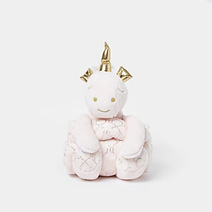 Baby pink unicorn toy and blanket