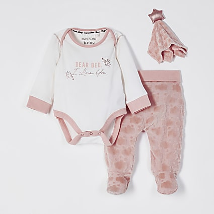 Baby pink velour cloud bodysuit toy outfit