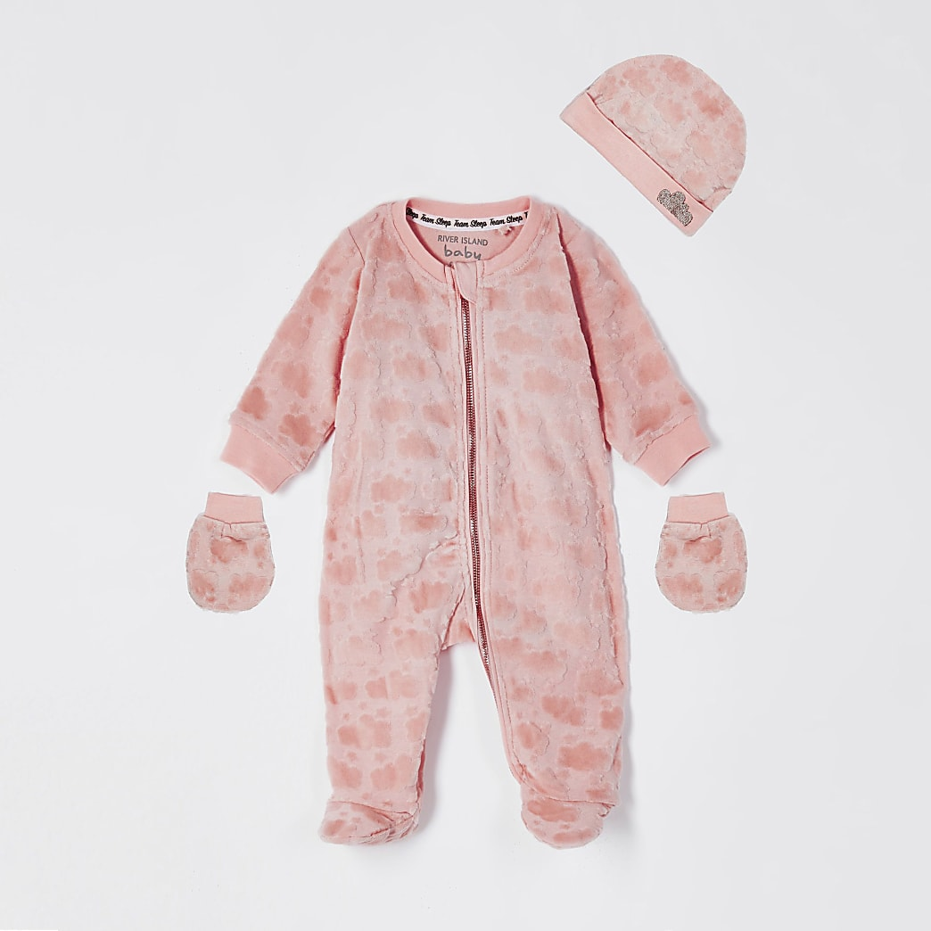 Baby pink velour cloud sleepsuit 3 piece set