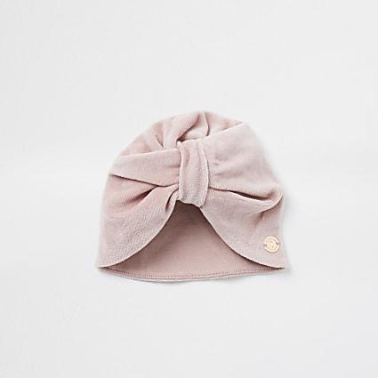 Baby pink velvet turban