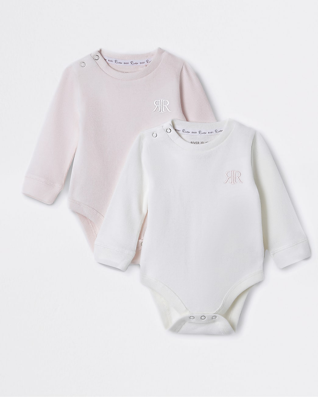 Baby pink waffle baby grows 2 pack