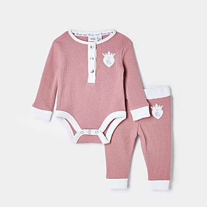 Baby pink waffle babygrow leggings outfit