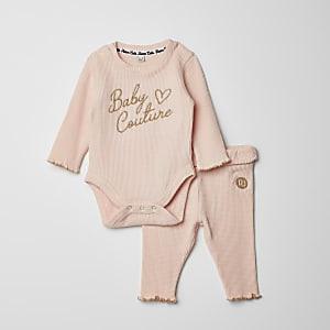 Roze bodysuit en legging outfit met wafeldessin voor baby's