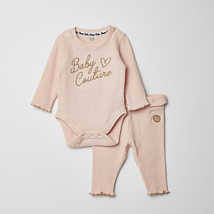 Baby pink waffle bodysuit legging outfit