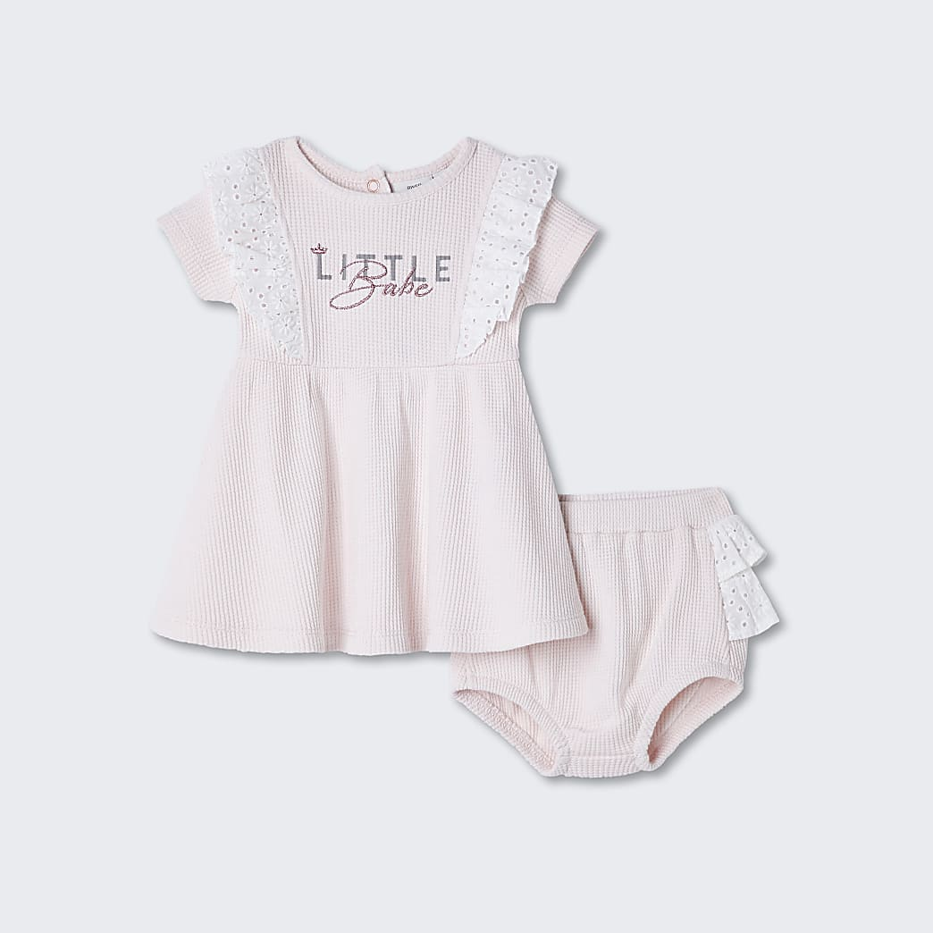 Baby pink waffle broderie frill dress outfit