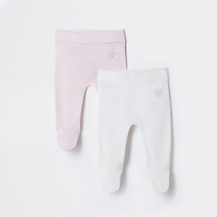 Baby pink waffle leggings 2 pack