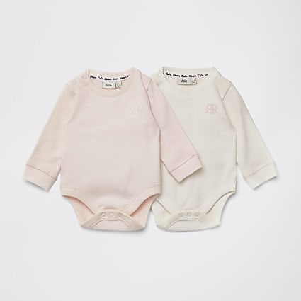 Baby pink waffle RIR bodysuit 2 pack