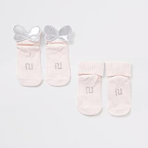 Pinkfarbene Socken mit Flügel für Babys im 2er-Pack